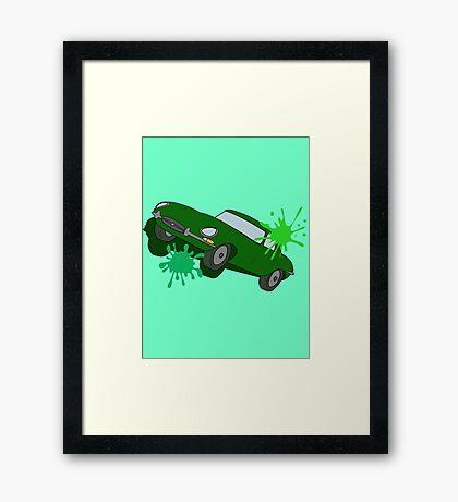 Classic Car Green Splatter Framed Print