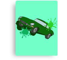 Classic Car Green Splatter Canvas Print