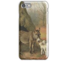 William Weekes , Farmyard friends in a wooded landscape iPhone Case/Skin