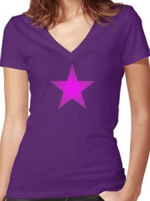 Purple Star Women's Fitted V-Neck T-Shirt
