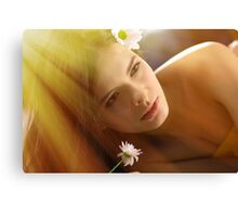 Beautiful young woman with camomile Canvas Print