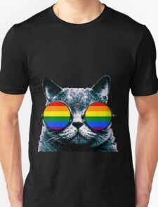 Gay Cat with Sunglasses Unisex T-Shirt