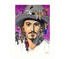 Johnny Depp W/ back Art Print