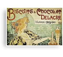 Biscuits & Chocolat Delacre, by Alphonse Mucha Canvas Print