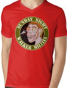 Zombie Patch Funny Sunday Night Walker Militia Mens V-Neck T-Shirt