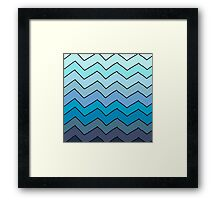 Blue gradient chevrons Framed Print