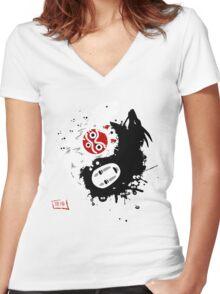 Spirits Yin-Yang Women's Fitted V-Neck T-Shirt