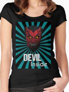 Devil Inside Dark Side Evil Mask Graphic Design T-shirt Women's Fitted Scoop T-Shirt