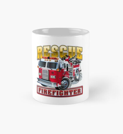 Vector Cartoon Fire Truck Mug