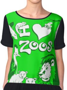 I Love Zoos (green 2015) Chiffon Top