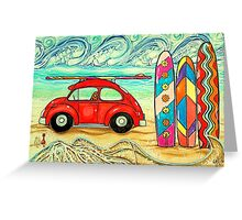 Beach Bug VW Mermaid Sculpture Sand Sandy Hippie Surfboard Ocean Sea Waves  Greeting Card