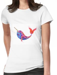 Narwhal Water Colour Womens Fitted T-Shirt