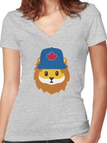 Full Print - Blue Jays No Fear Lion Emoji Women's Fitted V-Neck T-Shirt