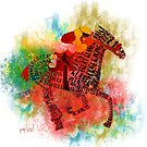 Colorful Horse Racing in Typography Design by Ginny Luttrell