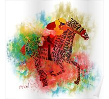 Colorful Horse Racing in Typography Design Poster