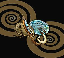 Abalone with Historic Maori Fishing Hooks by Patricia Howitt