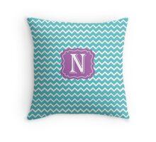 N Turquoise Throw Pillow
