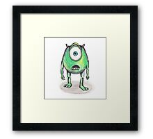 Mike Wazowski Ballpoint Watercolor Framed Print