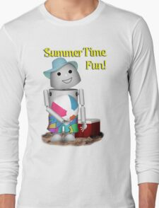 A Day at the Beach for Robo-x9 Long Sleeve T-Shirt