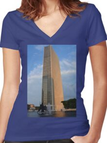 Corning Tower Women's Fitted V-Neck T-Shirt
