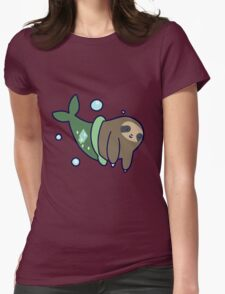Mermaid Sloth Womens Fitted T-Shirt