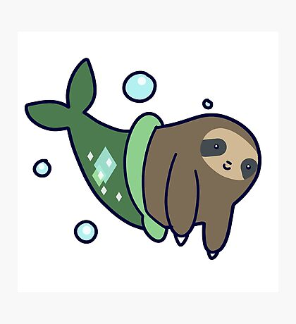Mermaid Sloth Photographic Print