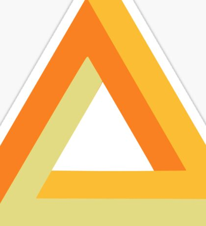 Penrose triangle orange gold yellow on black Sticker