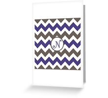 Purple Chevron N Greeting Card