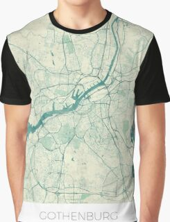 Gothenburg Map Blue Vintage Graphic T-Shirt