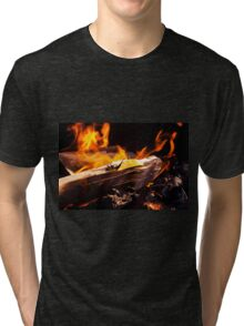 Burning Fire With Wood Tri-blend T-Shirt