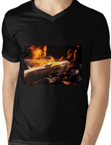 Burning Fire With Wood Mens V-Neck T-Shirt