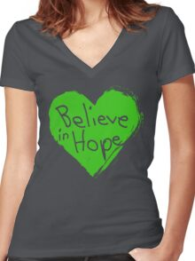 Believe In Hope Women's Fitted V-Neck T-Shirt