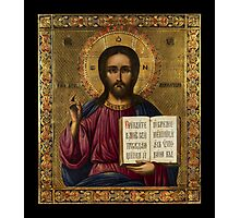 Christ Pantocrator Holding Bible Photographic Print