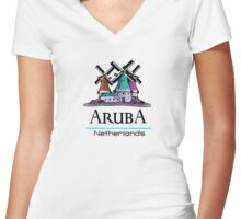 Aruba, The Netherlands Antilles Women's Fitted V-Neck T-Shirt