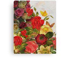 Beautiful Vibrant Vintage Flower Garden  Canvas Print