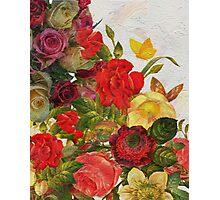 Beautiful Vibrant Vintage Flower Garden  Photographic Print