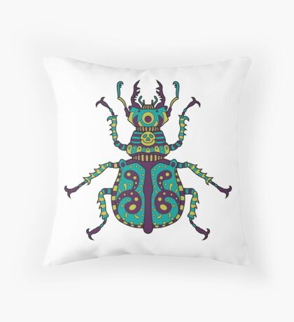 Ornate Scarab Throw Pillow