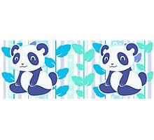 Blue Leaf Pandas Photographic Print