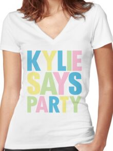 Kylie Minogue - Kylie Says Party Women's Fitted V-Neck T-Shirt
