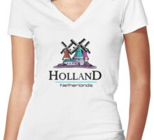 Holland, The Netherlands Women's Fitted V-Neck T-Shirt