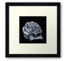 Skull Rose Morph Black Framed Print