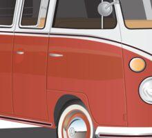 Hippie 21 Window VW Bus Red/White Samba Van Sticker