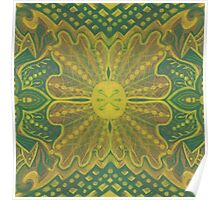 """""""Oak King"""", bohemian pattern in yellow and green tones Poster"""