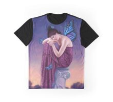 Sunset Blue Monarch Butterfly Fairy Graphic T-Shirt
