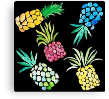 Colorful Watercolor Pineapples on Black Canvas Print