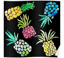Colorful Watercolor Pineapples on Black Poster
