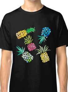 Colorful Watercolor Pineapples on Black Classic T-Shirt
