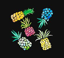 Colorful Watercolor Pineapples on Black Unisex T-Shirt