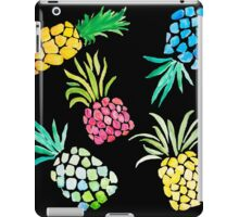 Colorful Watercolor Pineapples on Black iPad Case/Skin