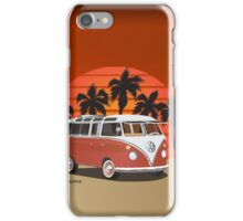 21 Window VW Bus Red Surfboard on the Beach iPhone Case/Skin